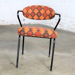 Mid Century Modern Black Bent Steel Tube Armchair with New Orange Upholstery