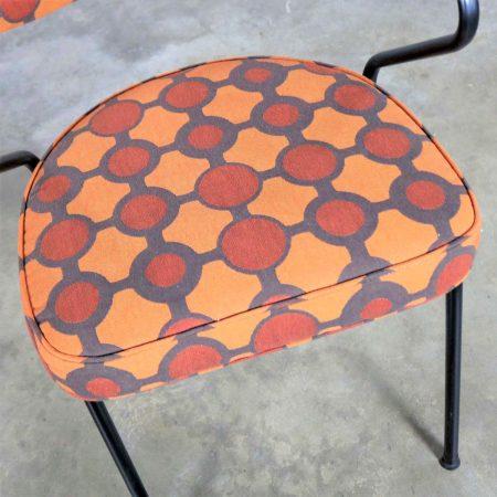 Mid Century Modern Black Bent Steel Tube Armchair with New Orange Upholstery