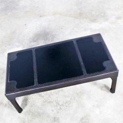 HOLD – Black Inlaid Leather Top Chinese Chippendale or Ming Style Petite Coffee Table