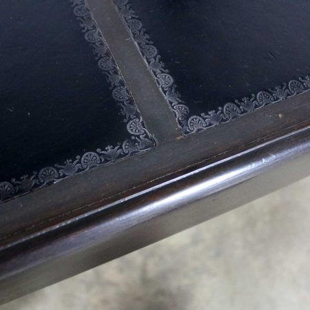 Black Inlaid Leather Top Chinese Chippendale or Ming Style Petite Coffee Table