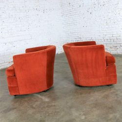 Vintage Petite Pair Hollywood Regency MCM Barrel Chairs in Burnt Orange on Casters