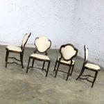 Art Nouveau or Art Deco Shield Back Antique Dining Chairs Set of Four