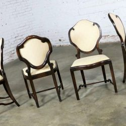 Art Nouveau or Art Deco Shield Back Antique Dining Chairs Set of Four