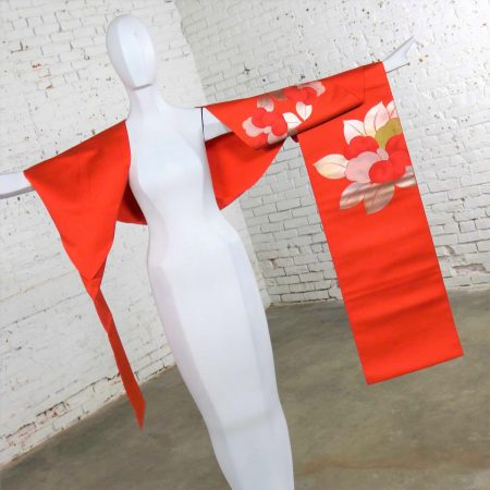 Vintage Orange Silk Japanese Obi with Gold and Silver Lamé and Brocade