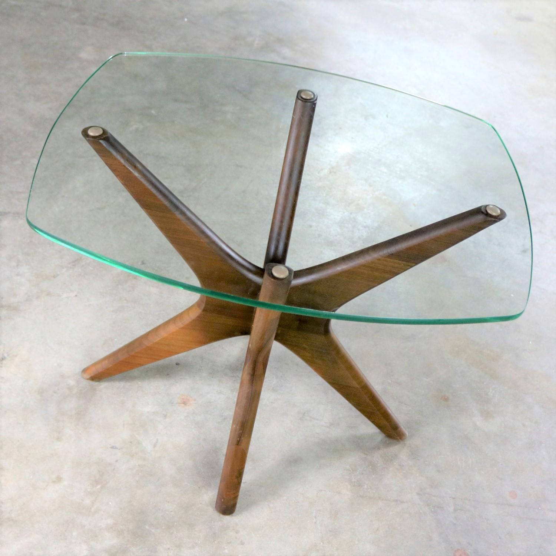 Adrian Pearsall Walnut And Glass Jacks Side Table Mid Century Modern 1 Warehouse 414
