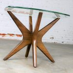 Adrian Pearsall Walnut and Glass Jacks Side Table Mid Century Modern-1