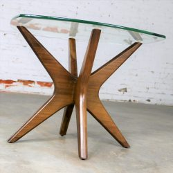 Adrian Pearsall Walnut and Glass Jacks Side Table Mid Century Modern-1