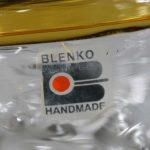 Blenko Hand Blown Glass Vase #9426 in Crystal and Topaz by Hank Adams