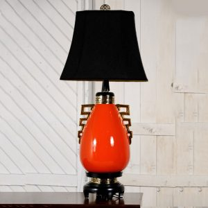 Monumental Hollywood Regency Glazed Ceramic Lamp in the Style of James Mont