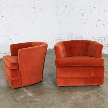 Vintage Petite Pair Hollywood Regency MCM Barrel Chairs in Burnt Orange on Casters