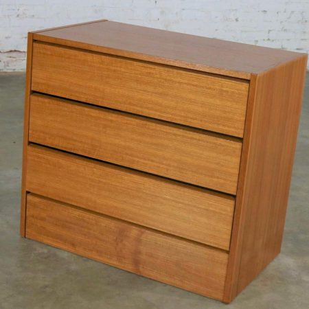 Scandinavian Modern Teak 3 Drawer Small Vintage Chest Marked Made in Denmark