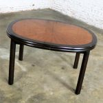 Drexel Ming Style Faux Bamboo Oval Dining Table Two Toned Finish & Two Leaves