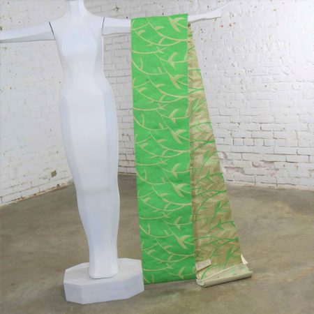 Vintage Emerald Green and Gold Lame Japanese Obi with Geometric Leaf Design
