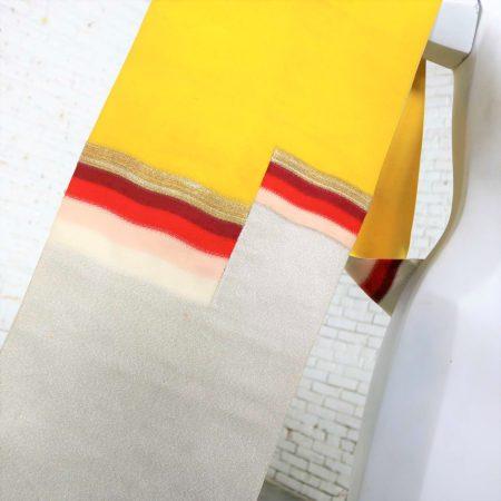Vintage Silver & Yellow Silk Japanese Obi with Red Gold Orange White Geometric Design