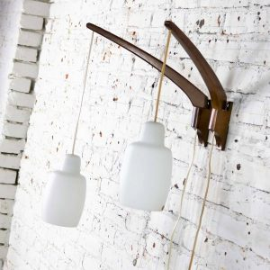 Pair Scandinavian Modern Style Teak & Glass Swing Arm Wall Lights After Uno & Östen Kristiansson