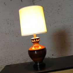 Large Brown and Black Md Century Modern Bulbous Ceramic Lamp