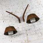Pair Scandinavian Modern Style Teak & Glass Swing Arm Wall Lights After Uno & Östen Kristiansson