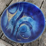 Sascha Brastoff Royal Blue Enamel Plate with Abstract Design Vintage Mid Century Modern