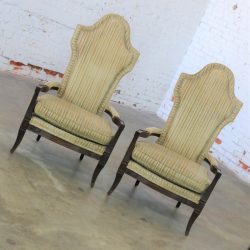 Mid Century Hollywood Regency Mediterranean High Backed Pair of Armchairs