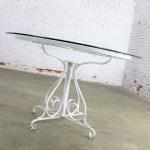 Mid Century Salterini Style Wrought Iron Round Patio Table