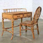 Tortoise Shell Rattan Desk / Vanity Table and Chair Set