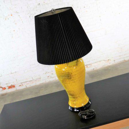 Large Yellow Mid Century Modern Lava Glaze Ceramic Table Lamp with Black Shade