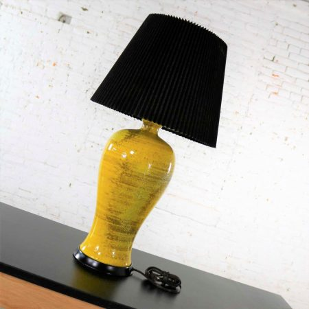 Large Yellow Mid Century Modern Lava Glaze Ceramic Table Lamp with Black Shade