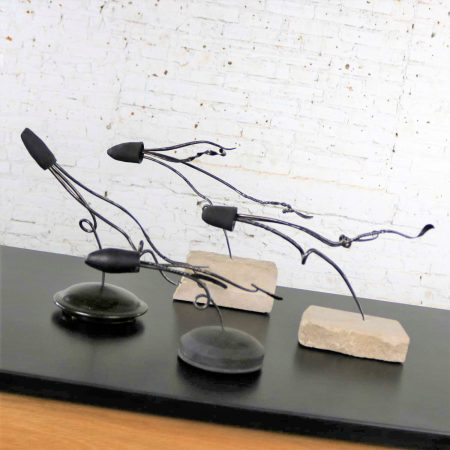 Loligo or Squid Metal Sculptures on Stone and Ceramic Bases by Larry Peters