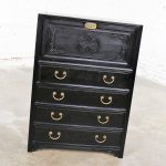 Antique Ebony Asian Drop Front Desk Secretary with Carved Front