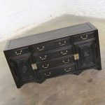 Antique Ebony Asian Buffet Credenza with Square Corner Carved Front