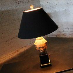 Hollywood Regency Vintage Buddha Head Table Lamp by Paul Hanson