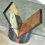 Post Modern Lacquered Burl V Base with Glass Top Dining Table Style Costantini for Ello