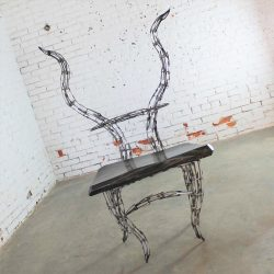 Sculptural Borgantula Reclaimed Metal and Wood Horn Chair by Jason Startup