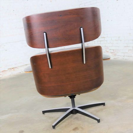 Mid Century Modern Plycraft Lounge Chair and Ottoman in Gray and Walnut