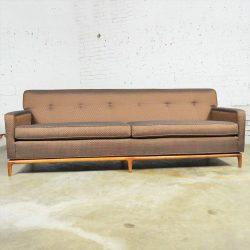 Mid Century Modern Tufted Tight Back Tuxedo Sofa on Walnut Base