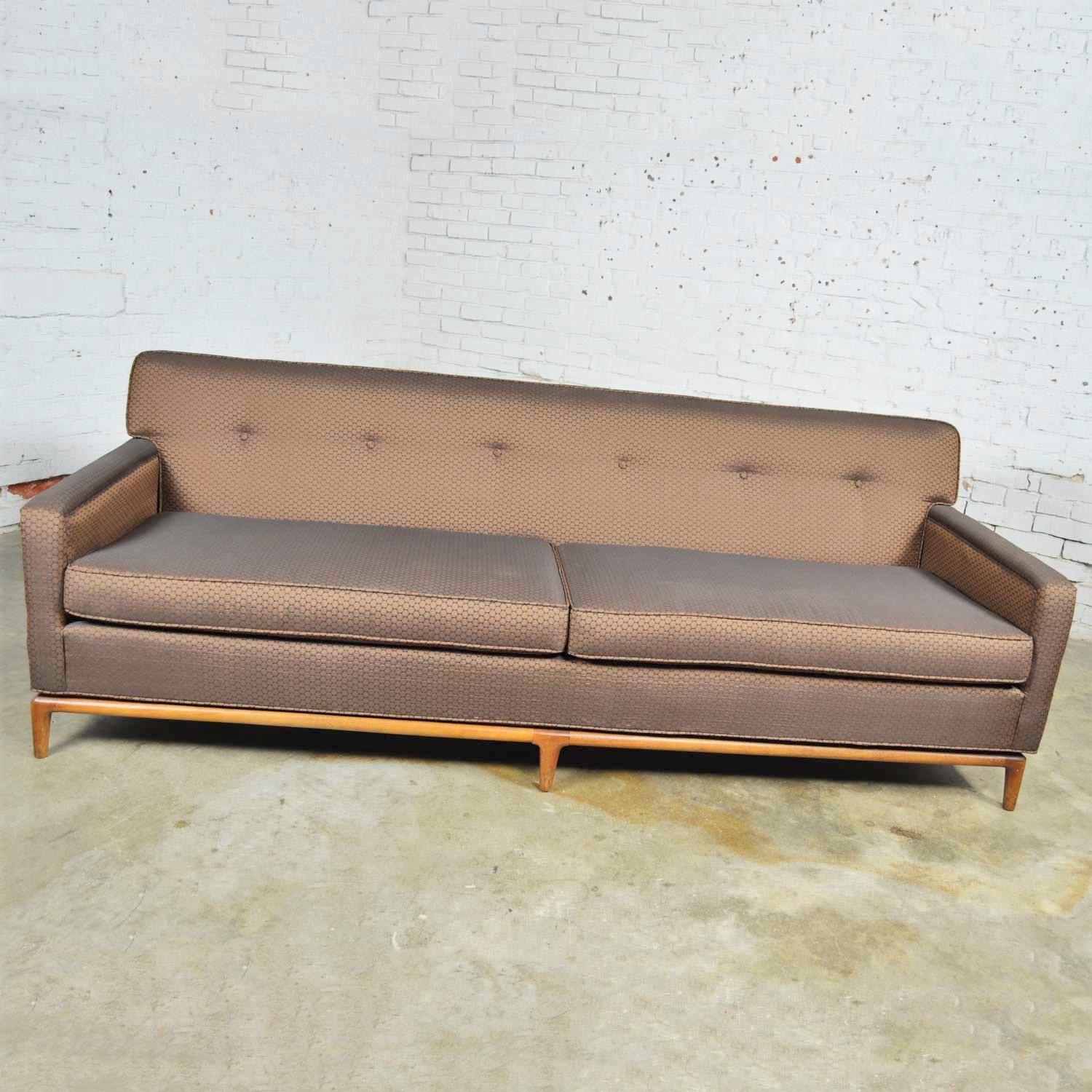 Surprising Mid Century Modern Tufted Tight Back Tuxedo Sofa On Walnut Gmtry Best Dining Table And Chair Ideas Images Gmtryco