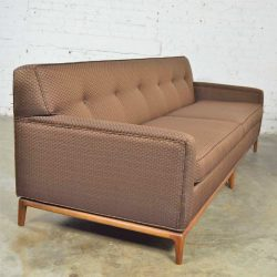 Mid Century Modern Tufted Tight Back Tuxedo Sofa on Walnut Base