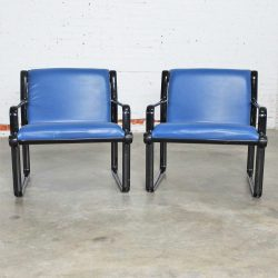 Pair Hannah Morrison for Knoll Sling Arm Chairs in Black and Blue