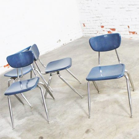 Virco 3000 Series Hard Plastic and Chrome Chairs in Navy Blue