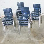 S-Virco 3000 Series Hard Plastic and Chrome Chairs in Navy Blue
