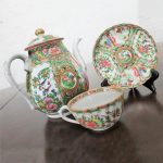 Antique Chinese Qing Rose Medallion Porcelain Teapot with Single Teacup and Saucer