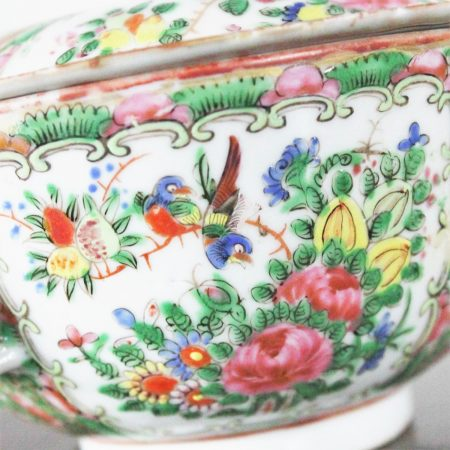 Antique Chinese Qing Rose Medallion Porcelain Covered Double Handled Bowl and Spoon
