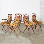 Antique Gebruder Thonet Bentwood Chairs Upholstered Back and Seat Set of Four