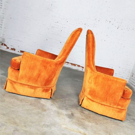 Vintage Hollywood Regency Orange Velvet High Back Pair of Chairs by Perfection Furniture