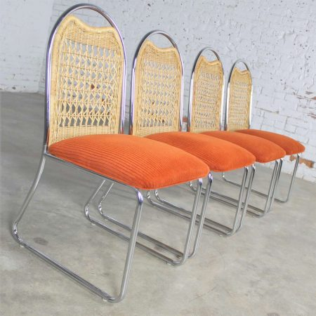 SL-Mid Century Daystrom Round Glass and Chrome Dinette Table and Four Chrome and Wicker Chairs