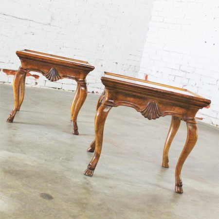 Vintage Pair of Brittiany for Heritage Hooved Side Tables w/ Brass Insert Tops
