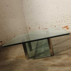 Vintage Chrome and Glass Coffee Table by The Pace Collection