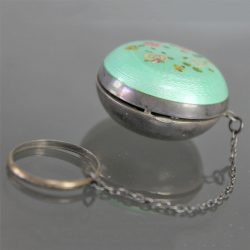 S-Art Deco Turquoise Guilloche & Sterling Chatelaine Tiny Ring Compact with Hand Painted Flower Design