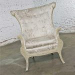 Neoclassic French Style Large Wingback Lounge Chair in Antique White