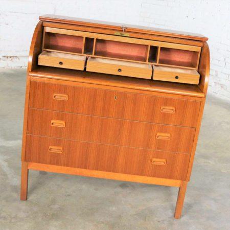 Scandinavian Modern Teak Rolltop Writing Desk Attributed to Egon Ostergaard